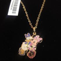 Dije Minnie Mouse Y Daisy Con Cadena En Chapa De Oro 22kilat