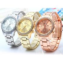 Relógio De Pulso Feminino Geneva Stress Todas As Cores