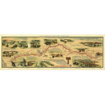 Lienzo Mapa Ruta Pony Express 31 X 90 Cm