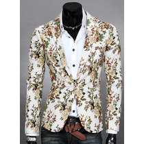 Saco Blazer Hombre Slim Fit Floreado Estilo Japonés Elegante