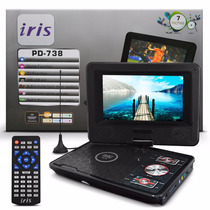 Dvd Portátil Tv 7 Tela Lcd Usb Fm Mp3 Bolsa Carregar Carro