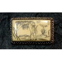 Muy Antiguo Prendedor Oriental En Fino Material Y Alpaca