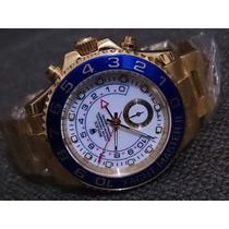 Relógio Yacht Master Dourado Dial Branco Automático Safira