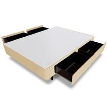 Cama Box Casal Universal 4 Gavetas Bege - 128x188 Casal Anti