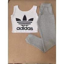 Conjunto Adidas Feminino Calça Ribana E Cropped