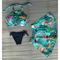 Kit Biquíni Cropped + Calcinha + Saia Saída De Praia
