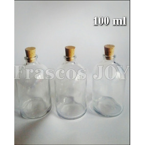 Minifrasco Vidrio 100 Ml Tapa Corcho 6 Piezas