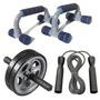 Roda Rolinho Exercício Abdomen + Corda De Pular + Apoio Fixo