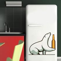 Adesivo Decorativo Geladeira - Urso Polar Cerveja 2 P