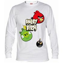 Remeras De Angry Birds De Mangas Largas