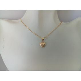 Cadena Eslabón Con Dije Mini Corazón Oro 10k