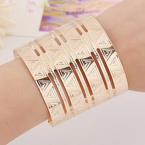 Linda Pulseira Bracelete Dourada Vazada Larga 6,0 Cm Egipcia
