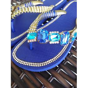 Chinelo Exclusivo.customizado C Peça Azul De Strass Gigante