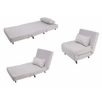 Sofá Cama Solteiro 3 Em 1 Dobrável Cinza Linho Moderno