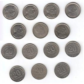 Argentina 1950 - 1956 Serie De 7 Monedas De 20 Centavos