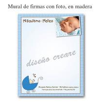 Mural De Firmas Bautismo Primer Cumpleaños - En Madera Foto