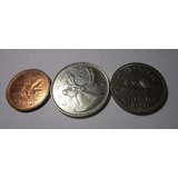 3 Moneda Canada 1 5 25 Cents 1997 1986 1968 Lote U6
