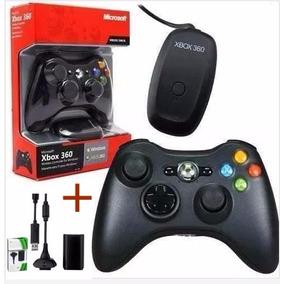Controle Xbox 360 Wireless + Receiver Usb Para Pc + Brinde