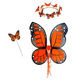 Disfraz De Mariposa Monarca Alas Tiara Niña Primaver Cosplay