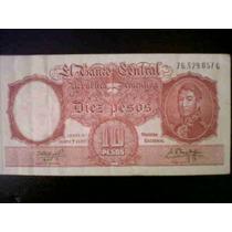 Billete De Diez Pesos Banco Central De La Republica Argentin