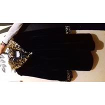Bonito Abrigo Negro Con Detalles Leopardo