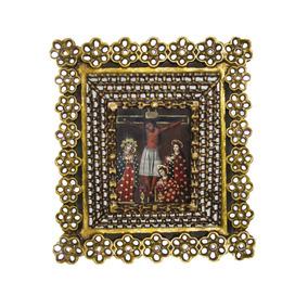 Oleo Cristo Crucificado, Madera Cedro Incrustaciones Espejo