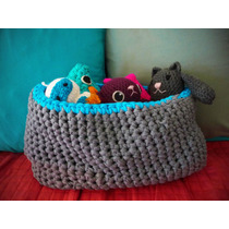 Cesto O Canasto Tejido A Crochet Con Totora