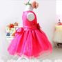Vestido Infantil Festa Princesa Cinderela Frozen Azul Pink