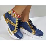 Zapatos Calzados Azul Oro Tenis Dama Mujer Fabrica Colombia