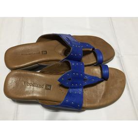 Sandalias 24 Hs. Woodland Azules, Nro. 39 Taco Chino