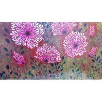 Cuadro De Flores Pintado A Mano Con Relieve