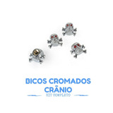 Kit Bico Valvula Pneu Cromado Caveira Crânio Completo 4 Pcs