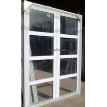 Porton Puerta Doble Aluminio Vidrios Horizontales 120x200 Cm