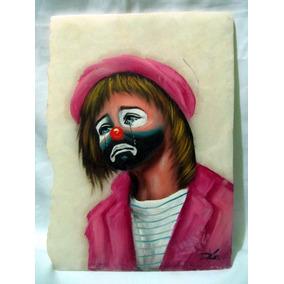 Pintura De Payaso Triste En Marmol Hermosa Obra De Arte