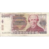 Billete De 5 Mil Pesos Argentinos. B.alberdi