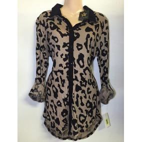 Blusa Leopardo Con Botones Talla L C1