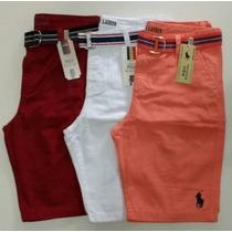 Kit 3 Bermuda Masculina Sarja Jeans Cinto De Brinde