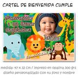 Cartel De Bienvenida Cumpleaños Animales D La Selva Con Foto