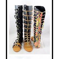 Zapatilla Larga Gladiador Negra Dorado Oferta Moda Casual