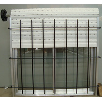 Ventana De Aluminio Natural Con Reja Vidrios Cortina 150x110