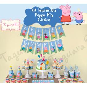 Kit Imprimible Peppa Pig George Fiesta Invitación Cupcake