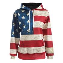 Bandera Americana Impresión Mujeres Sudadera Con Capucha