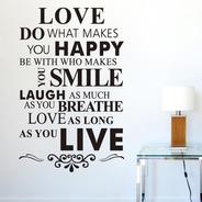 Adesivo De Parede Sala E Quarto Dizeres Felicidade Em Inglês