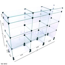 Balcão De Vidro Modulado - 1,50 X 1,10 X 0,30 - Frete Grátis