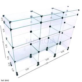 Balcão Modulado Em Vidro Temperado 4mm - 1,50 X 1,10 X 0,30