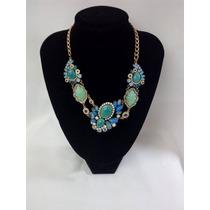 Bisutería Fina: Collar P/ Dama Azul Turquesa Brillante Nuevo