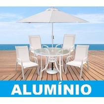 Jogo Conjunto De Mesa 4 Cadeiras Aluminio Piscina Tela Sling