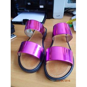 Sandalias Zapatillas D Moda Suela Tractor Morada Metalizada