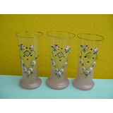 Antiguos Vasos En Vidrio Veneciano Pintados A Mano
