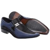 Sapato Social Masculino Casual Jeans Azul E Preto Gofer